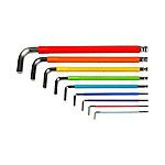 彩虹系列9件特長球頭內六角扳手組套